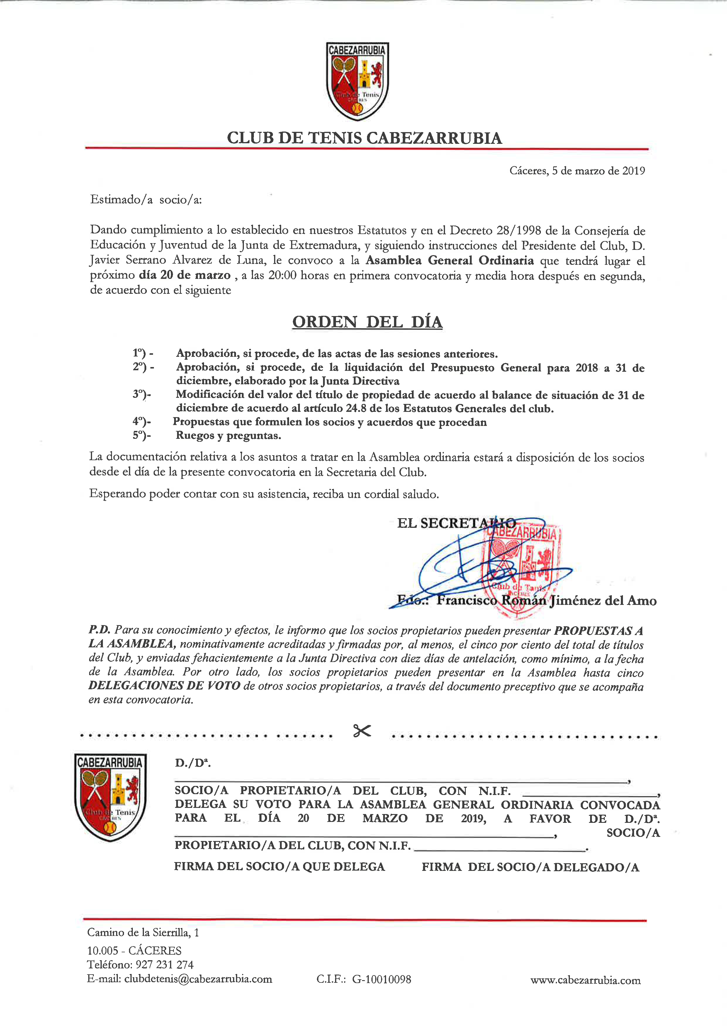 20190320-Convocatoria Asamblea General Ordinaria 20 Marzo 2019-1